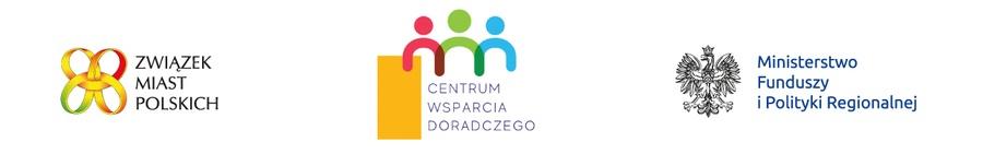 logotypy - Związek Miast Polskich, Centrum Wsparcia Doradczego, Ministerstwo Funduszy i Polityki Regionalnej